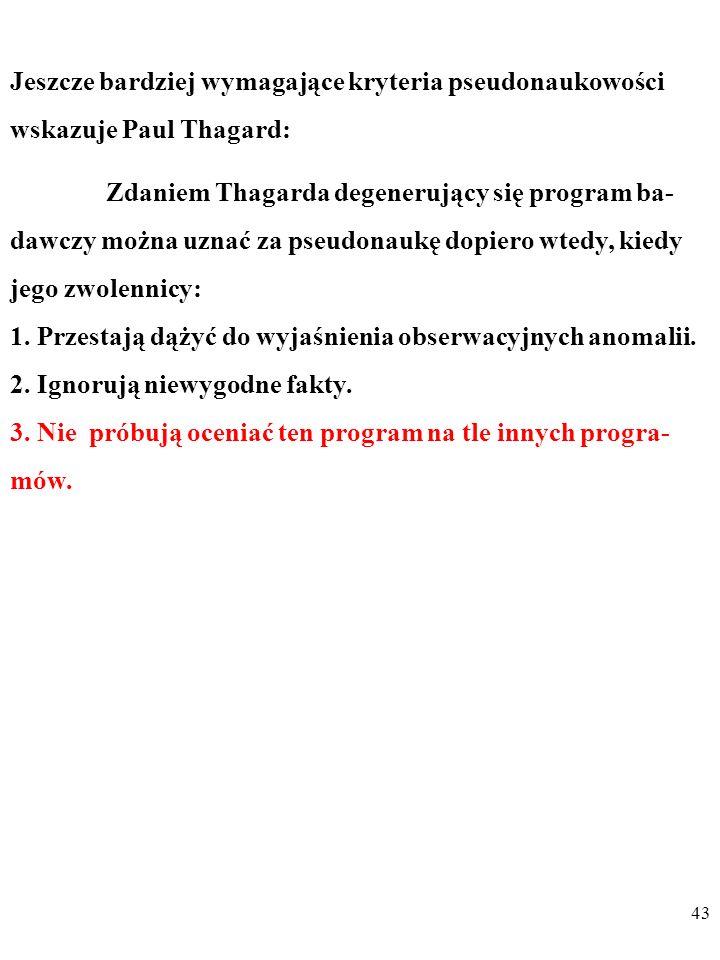 42 Zdaniem Thagarda degenerujący się program ba- dawczy można uznać za pseudonaukę dopiero wtedy, kiedy jego zwolennicy: 1.