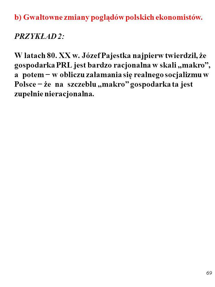 68 b) Gwałtowne zmiany poglądów polskich ekonomistów.