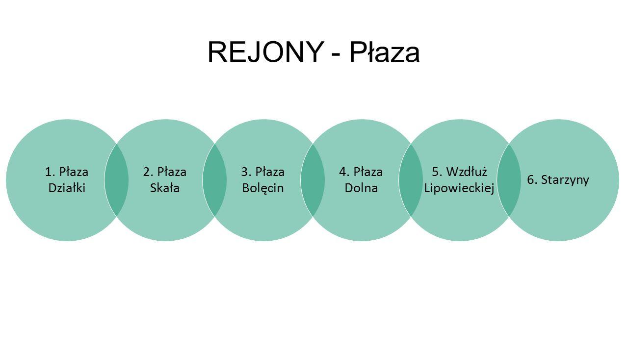 REJONY - Płaza 1. Płaza Działki 2. Płaza Skała 3.
