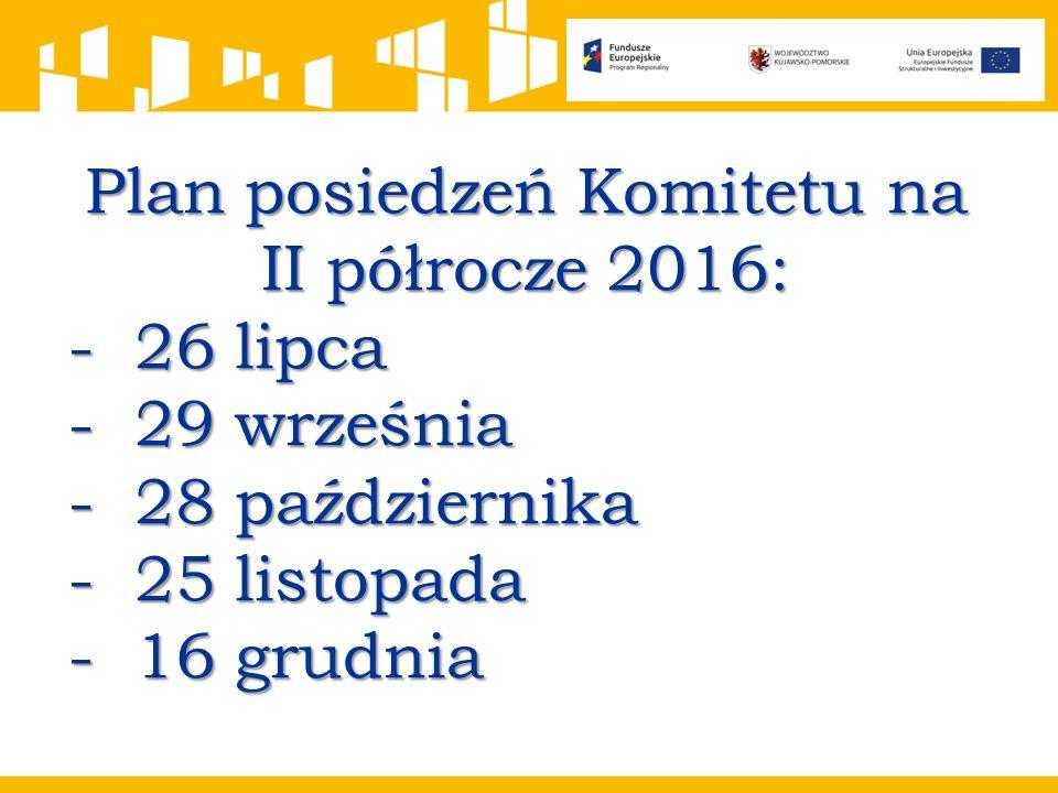 Plan posiedzeń Komitetu na II półrocze 2016: -26 lipca -29 września -28 października -25 listopada -16 grudnia