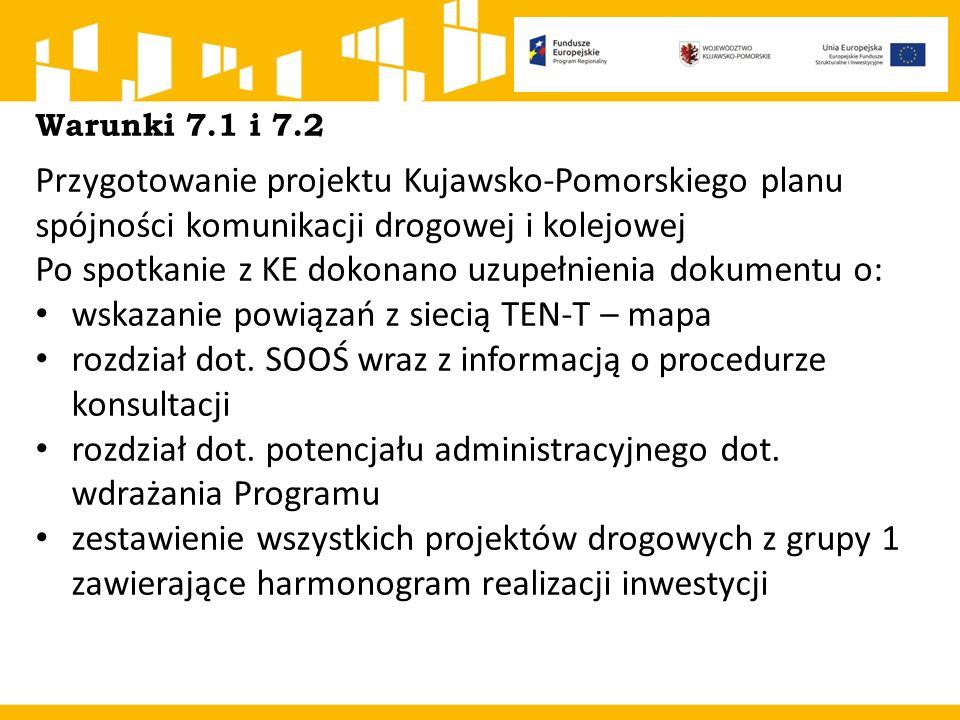 Warunki 7.1 i 7.2 Przygotowanie projektu Kujawsko-Pomorskiego planu spójności komunikacji drogowej i kolejowej Po spotkanie z KE dokonano uzupełnienia