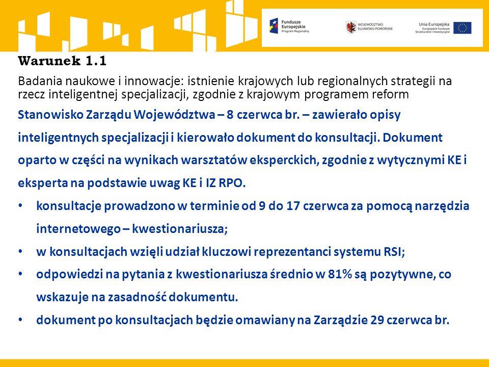 Warunek 1.1 Badania naukowe i innowacje: istnienie krajowych lub regionalnych strategii na rzecz inteligentnej specjalizacji, zgodnie z krajowym progr