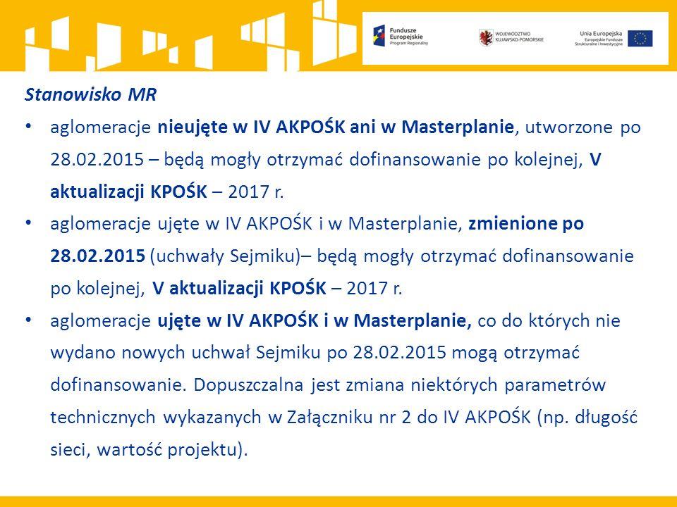 Stanowisko MR aglomeracje nieujęte w IV AKPOŚK ani w Masterplanie, utworzone po 28.02.2015 – będą mogły otrzymać dofinansowanie po kolejnej, V aktuali