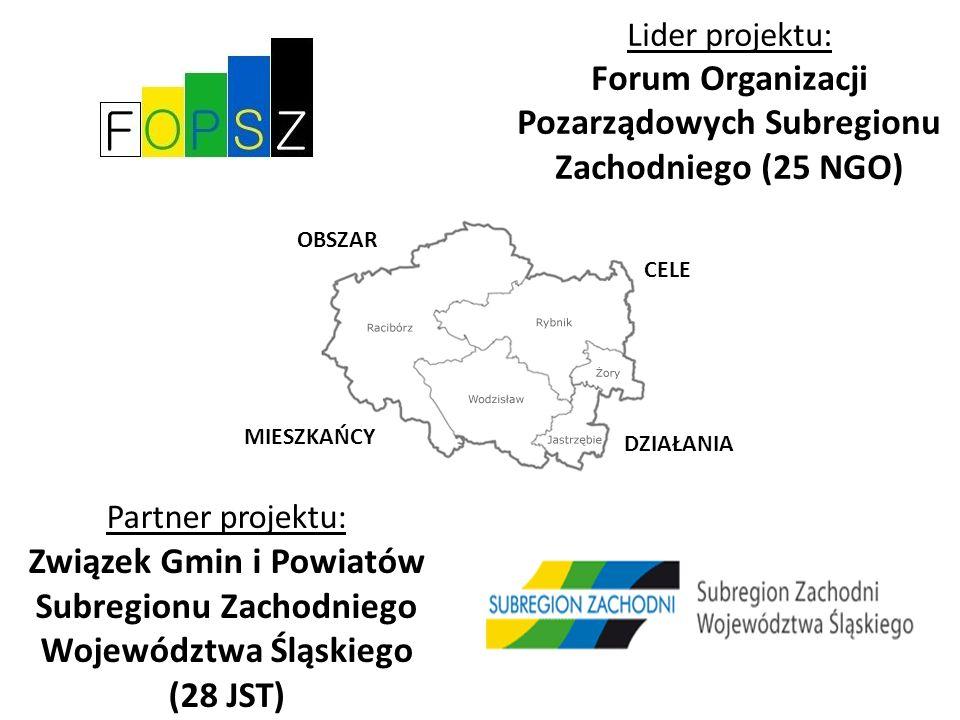 Partner projektu: Związek Gmin i Powiatów Subregionu Zachodniego Województwa Śląskiego (28 JST) Lider projektu: Forum Organizacji Pozarządowych Subregionu Zachodniego (25 NGO) OBSZAR MIESZKAŃCY CELE DZIAŁANIA