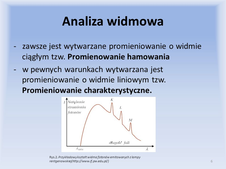 Analiza widmowa - zawsze jest wytwarzane promieniowanie o widmie ciągłym tzw. Promienowanie hamowania - w pewnych warunkach wytwarzana jest promieniow