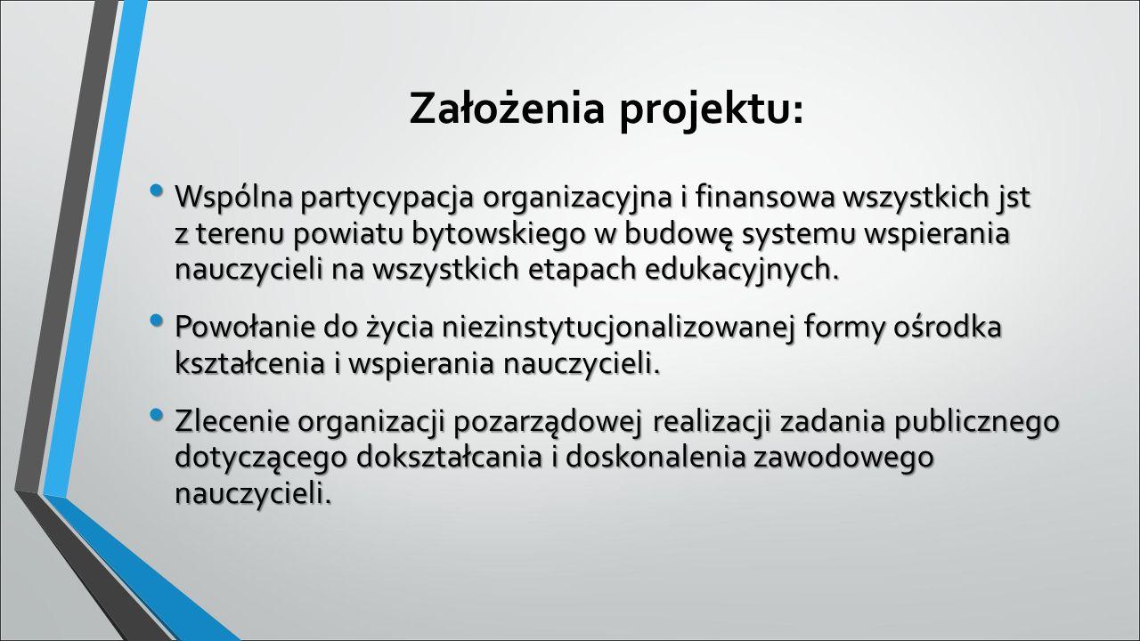Założenia projektu: Wspólna partycypacja organizacyjna i finansowa wszystkich jst z terenu powiatu bytowskiego w budowę systemu wspierania nauczycieli na wszystkich etapach edukacyjnych.