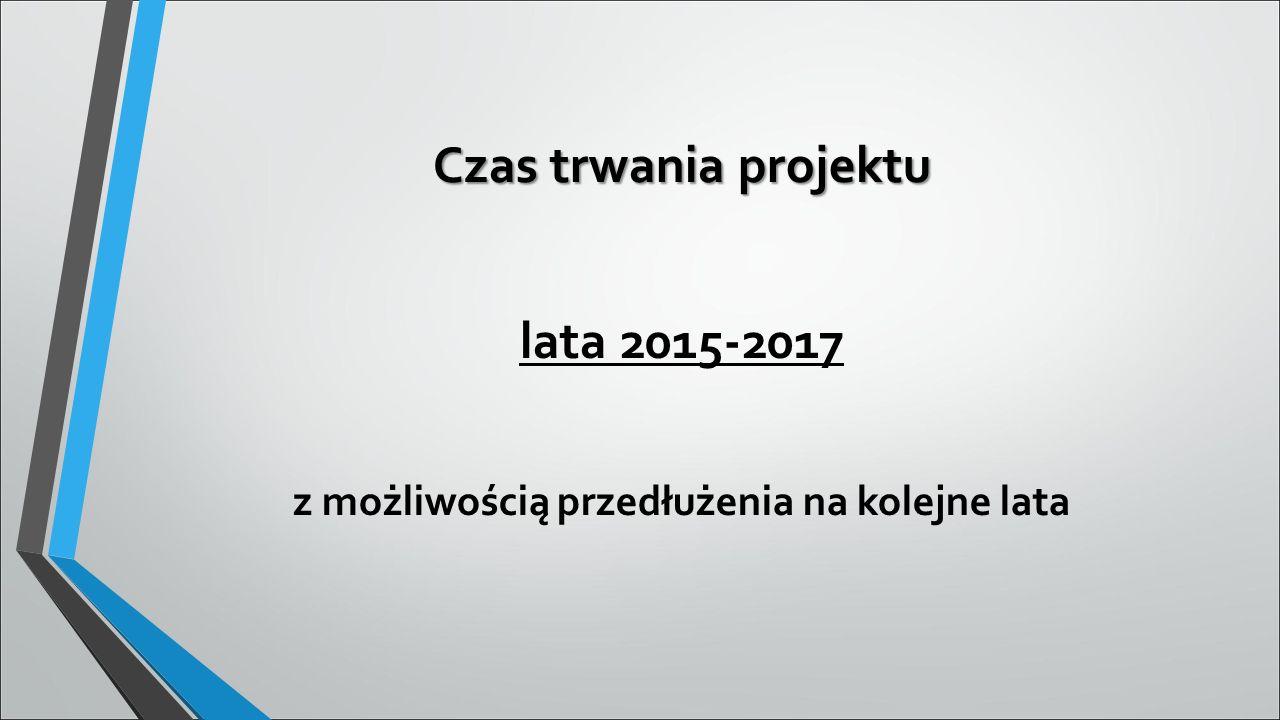 Czas trwania projektu lata 2015-2017 z możliwością przedłużenia na kolejne lata
