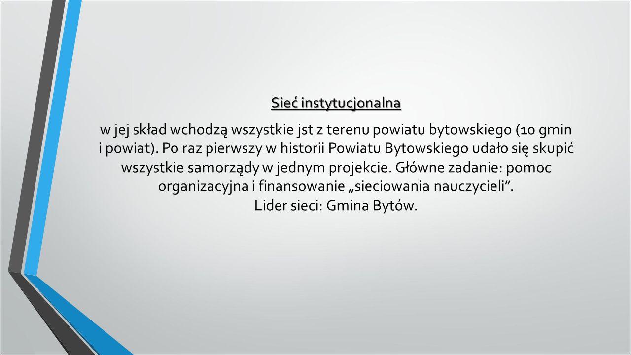 Sieć instytucjonalna w jej skład wchodzą wszystkie jst z terenu powiatu bytowskiego (10 gmin i powiat).