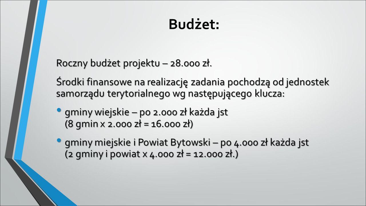 Budżet: Roczny budżet projektu – 28.000 zł. Środki finansowe na realizację zadania pochodzą od jednostek samorządu terytorialnego wg następującego klu