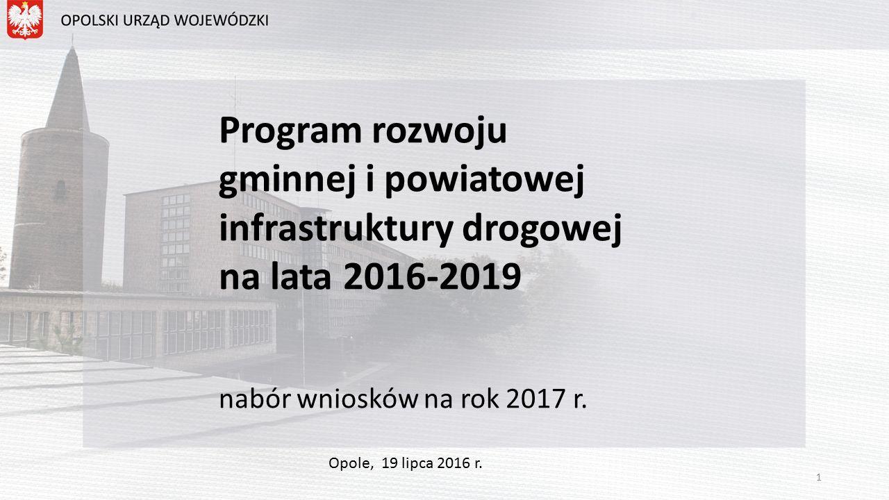 Program rozwoju gminnej i powiatowej infrastruktury drogowej na lata 2016-2019 nabór wniosków na rok 2017 r.