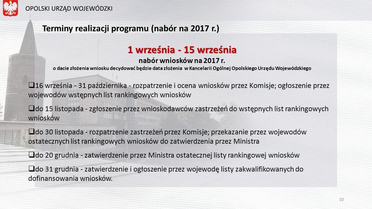 Terminy realizacji programu (nabór na 2017 r.) 1 września - 15 września nabór wniosków na 2017 r.