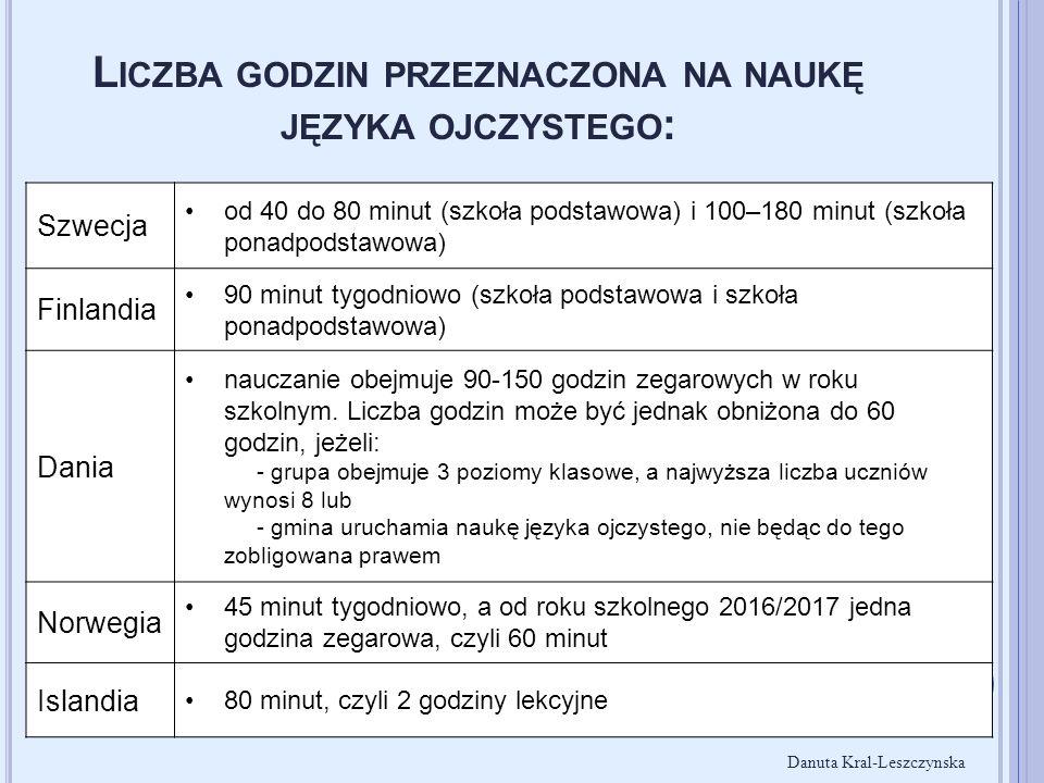 L ICZBA GODZIN PRZEZNACZONA NA NAUKĘ JĘZYKA OJCZYSTEGO : Szwecja od 40 do 80 minut (szkoła podstawowa) i 100–180 minut (szkoła ponadpodstawowa) Finlan