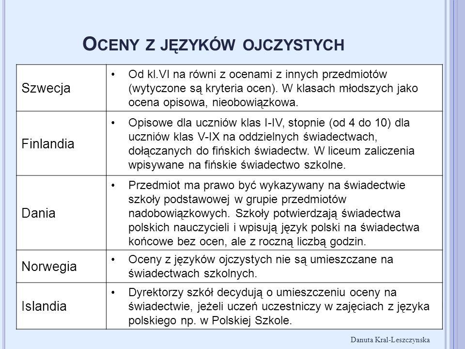 O CENY Z JĘZYKÓW OJCZYSTYCH Szwecja Od kl.VI na równi z ocenami z innych przedmiotów (wytyczone są kryteria ocen). W klasach młodszych jako ocena opis