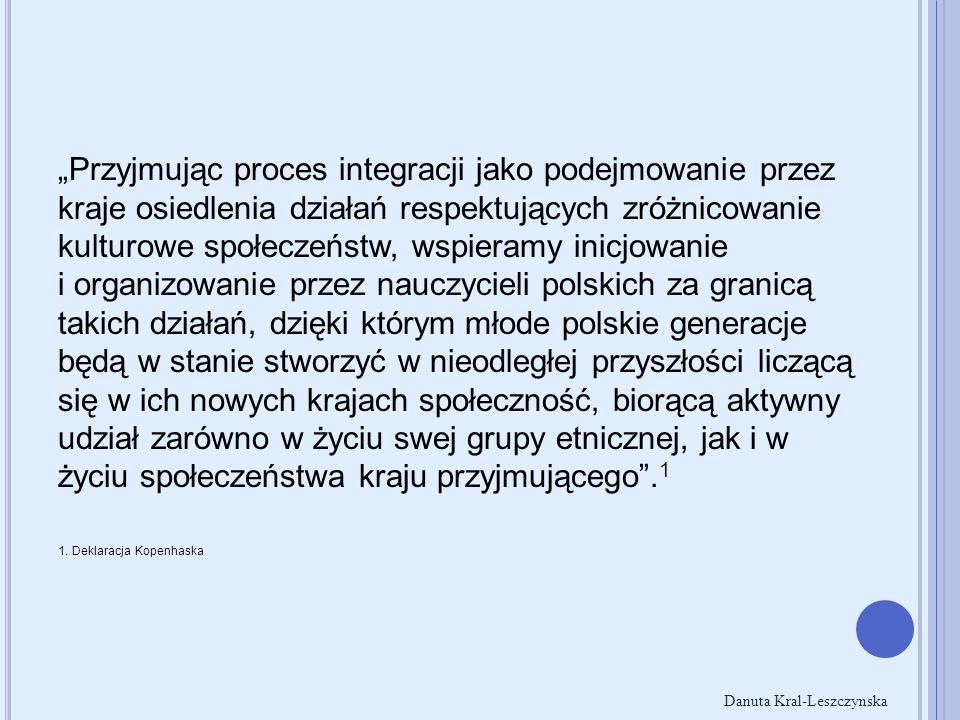 P ODSTAWY PRAWNE Rozporządzenie Rady Europejskiej Wspólnoty Gospodarczej 1612/68/EWG z 15 października 1968 roku - równe warunki dostępu do kształcenia ogólnego i zawodowego dzieci pracowników migrujących wewnątrz Wspólnoty Dyrektywa Rady 77/486/EWG z 25 lipca 1977 roku - prawo do bezpłatnego kształcenia, w tym nauka języka lub języków państwa przyjmującego, jak i nauka języka ojczystego i kultury kraju pochodzenia (we współpracy z państwami pochodzenia) Konwencja o Prawach Dziecka przyjęta 20 listopada 1989 roku przez Zgromadzenie Ogólne Organizacji Narodów Zjednoczonych - ratyfikowana przez Polskę i wszystkie kraje nordyckie, gwarantująca każdemu dziecku prawo do tożsamości, wolności, godności i bezpłatnej edukacji, niezależnie od języka, religii, poglądów politycznych lub statusu majątkowego Danuta Kral-Leszczynska