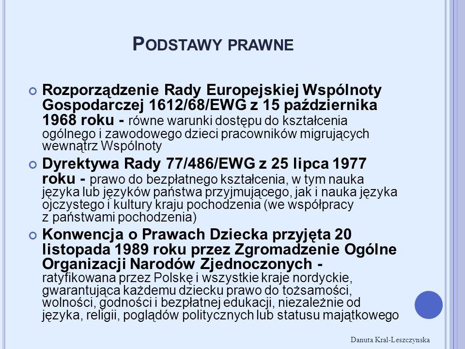 P ODSTAWY PRAWNE Rozporządzenie Rady Europejskiej Wspólnoty Gospodarczej 1612/68/EWG z 15 października 1968 roku - równe warunki dostępu do kształceni