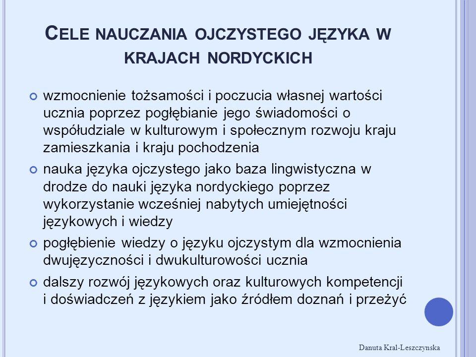 C ELE NAUCZANIA OJCZYSTEGO JĘZYKA W KRAJACH NORDYCKICH wzmocnienie tożsamości i poczucia własnej wartości ucznia poprzez pogłębianie jego świadomości o współudziale w kulturowym i społecznym rozwoju kraju zamieszkania i kraju pochodzenia nauka języka ojczystego jako baza lingwistyczna w drodze do nauki języka nordyckiego poprzez wykorzystanie wcześniej nabytych umiejętności językowych i wiedzy pogłębienie wiedzy o języku ojczystym dla wzmocnienia dwujęzyczności i dwukulturowości ucznia dalszy rozwój językowych oraz kulturowych kompetencji i doświadczeń z językiem jako źródłem doznań i przeżyć Danuta Kral-Leszczynska