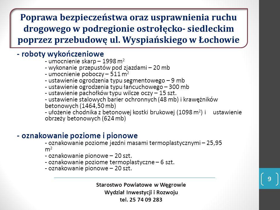 10 Starostwo Powiatowe w Węgrowie Wydział Inwestycji i Rozwoju tel.