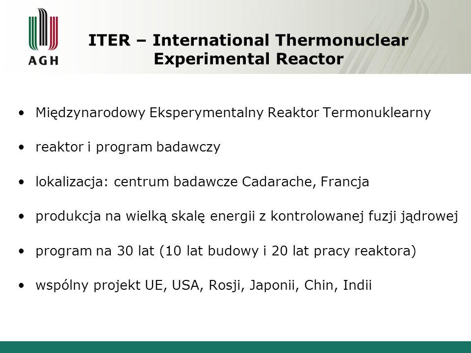ITER – International Thermonuclear Experimental Reactor Międzynarodowy Eksperymentalny Reaktor Termonuklearny reaktor i program badawczy lokalizacja: centrum badawcze Cadarache, Francja produkcja na wielką skalę energii z kontrolowanej fuzji jądrowej program na 30 lat (10 lat budowy i 20 lat pracy reaktora) wspólny projekt UE, USA, Rosji, Japonii, Chin, Indii