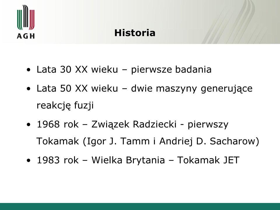 Historia Lata 30 XX wieku – pierwsze badania Lata 50 XX wieku – dwie maszyny generujące reakcję fuzji 1968 rok – Związek Radziecki - pierwszy Tokamak (Igor J.