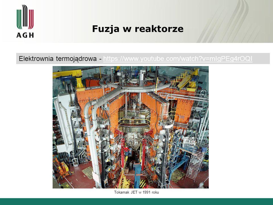 Fuzja w reaktorze Elektrownia termojądrowa - https://www.youtube.com/watch v=mIgPEg4rOQIhttps://www.youtube.com/watch v=mIgPEg4rOQI Tokamak JET w 1991 roku