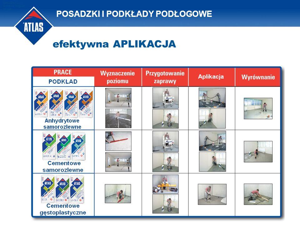 POSADZKI I PODKŁADY PODŁOGOWE Plan OPRACOWAŁ: Waldemar Bogusz 2011/08 efektywna APLIKACJA