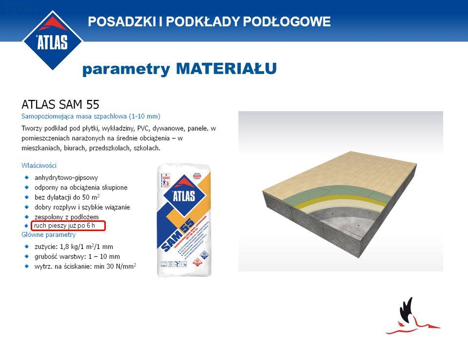 POSADZKI I PODKŁADY PODŁOGOWE OPRACOWAŁ: Waldemar Bogusz 2011/08 parametry MATERIAŁU ruch pieszy już po 6 h