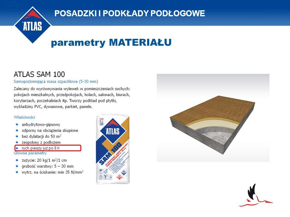 POSADZKI I PODKŁADY PODŁOGOWE OPRACOWAŁ: Waldemar Bogusz 2011/08 ruch pieszy już po 6 h parametry MATERIAŁU