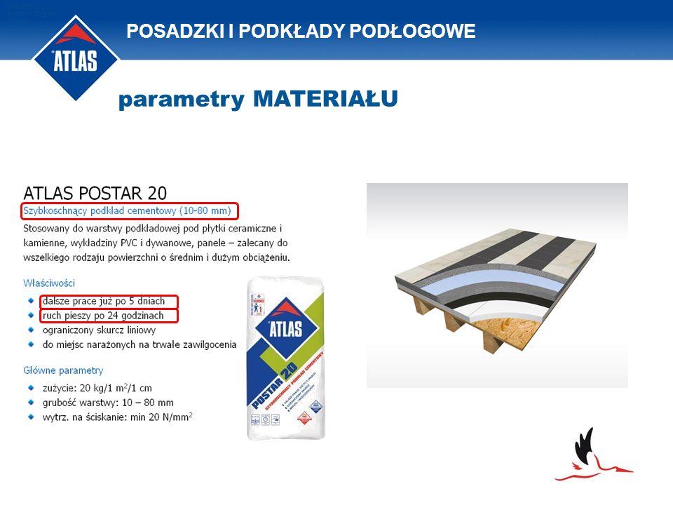 POSADZKI I PODKŁADY PODŁOGOWE OPRACOWAŁ: Waldemar Bogusz 2011/08 parametry MATERIAŁU