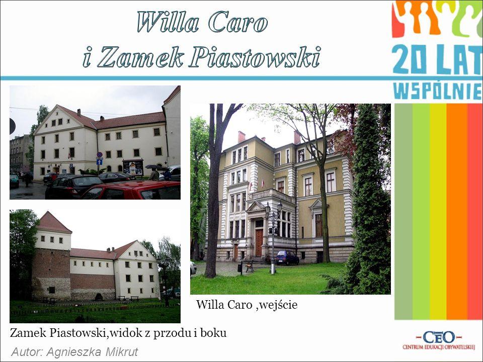 Autor: Agnieszka Mikrut Zamek Piastowski,widok z przodu i boku Willa Caro,wejście
