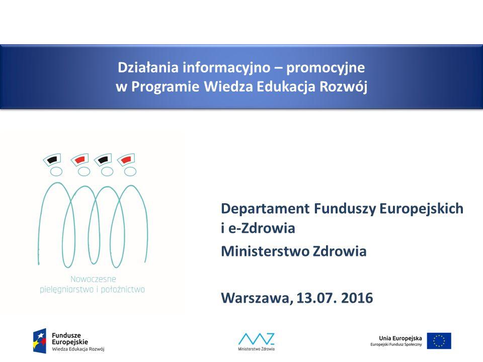 Działania informacyjno – promocyjne w Programie Wiedza Edukacja Rozwój Departament Funduszy Europejskich i e-Zdrowia Ministerstwo Zdrowia Warszawa, 13.07.