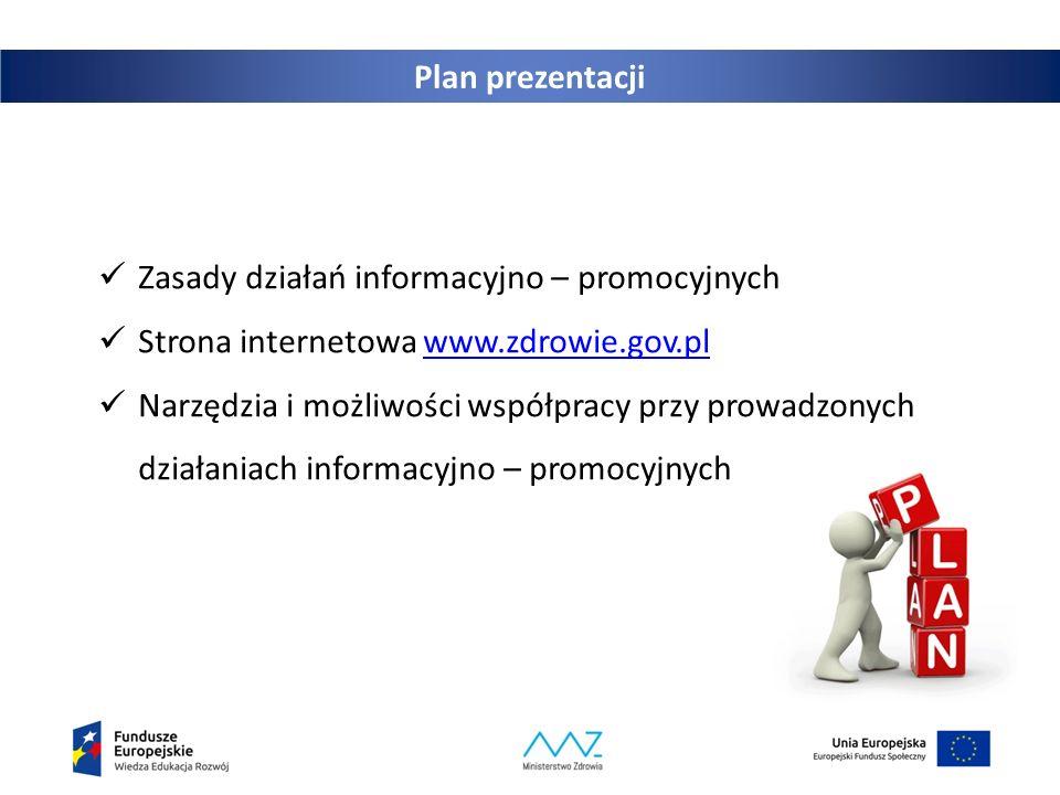 Plan prezentacji Zasady działań informacyjno – promocyjnych Strona internetowa www.zdrowie.gov.plwww.zdrowie.gov.pl Narzędzia i możliwości współpracy przy prowadzonych działaniach informacyjno – promocyjnych
