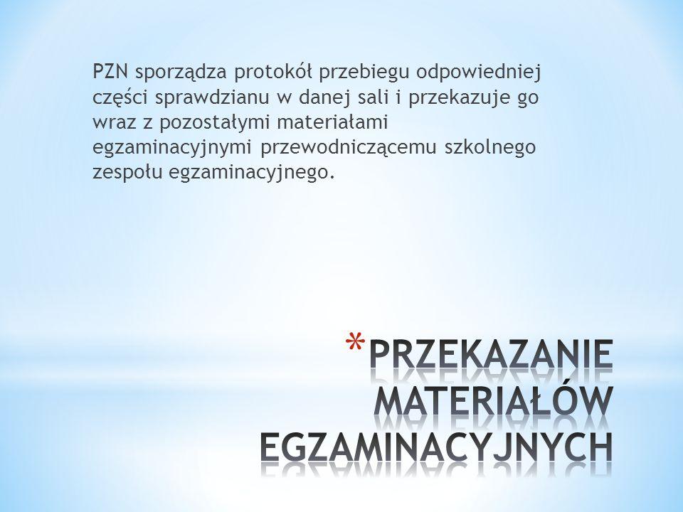 PZN sporządza protokół przebiegu odpowiedniej części sprawdzianu w danej sali i przekazuje go wraz z pozostałymi materiałami egzaminacyjnymi przewodni
