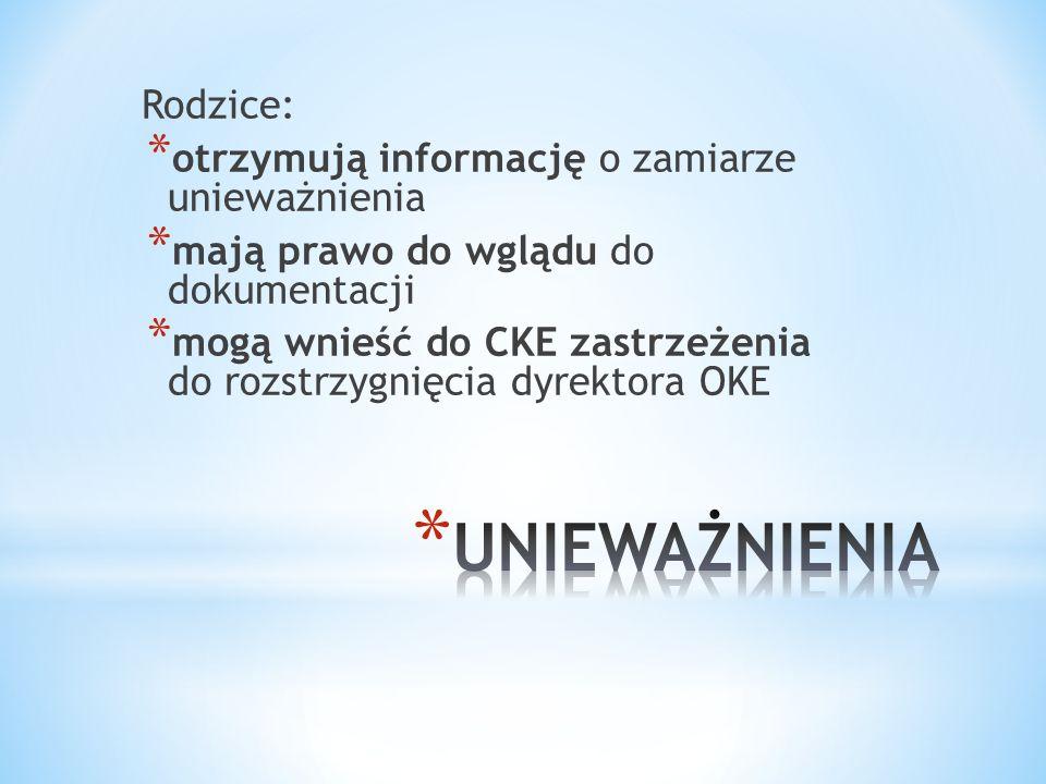 Rodzice: * otrzymują informację o zamiarze unieważnienia * mają prawo do wglądu do dokumentacji * mogą wnieść do CKE zastrzeżenia do rozstrzygnięcia d