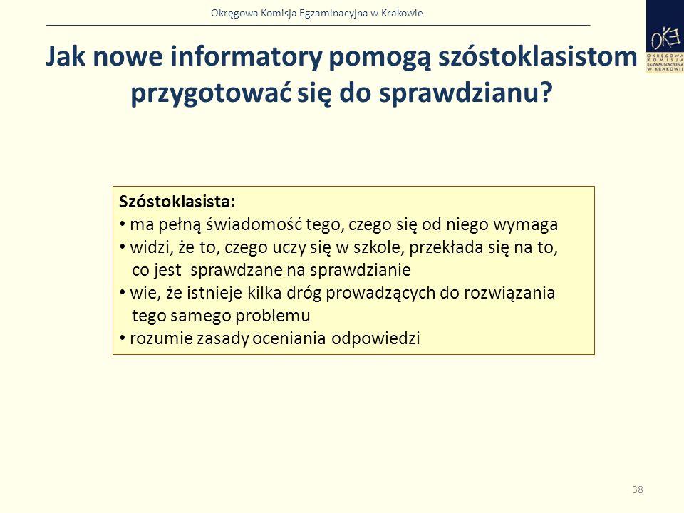Okręgowa Komisja Egzaminacyjna w Krakowie 38 Szóstoklasista: ma pełną świadomość tego, czego się od niego wymaga widzi, że to, czego uczy się w szkole, przekłada się na to, co jest sprawdzane na sprawdzianie wie, że istnieje kilka dróg prowadzących do rozwiązania tego samego problemu rozumie zasady oceniania odpowiedzi Jak nowe informatory pomogą szóstoklasistom przygotować się do sprawdzianu