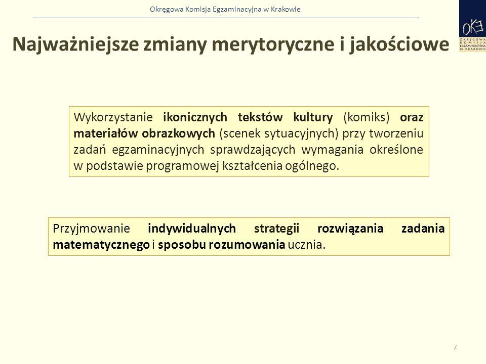Okręgowa Komisja Egzaminacyjna w Krakowie Najważniejsze zmiany merytoryczne i jakościowe 7 Wykorzystanie ikonicznych tekstów kultury (komiks) oraz materiałów obrazkowych (scenek sytuacyjnych) przy tworzeniu zadań egzaminacyjnych sprawdzających wymagania określone w podstawie programowej kształcenia ogólnego.