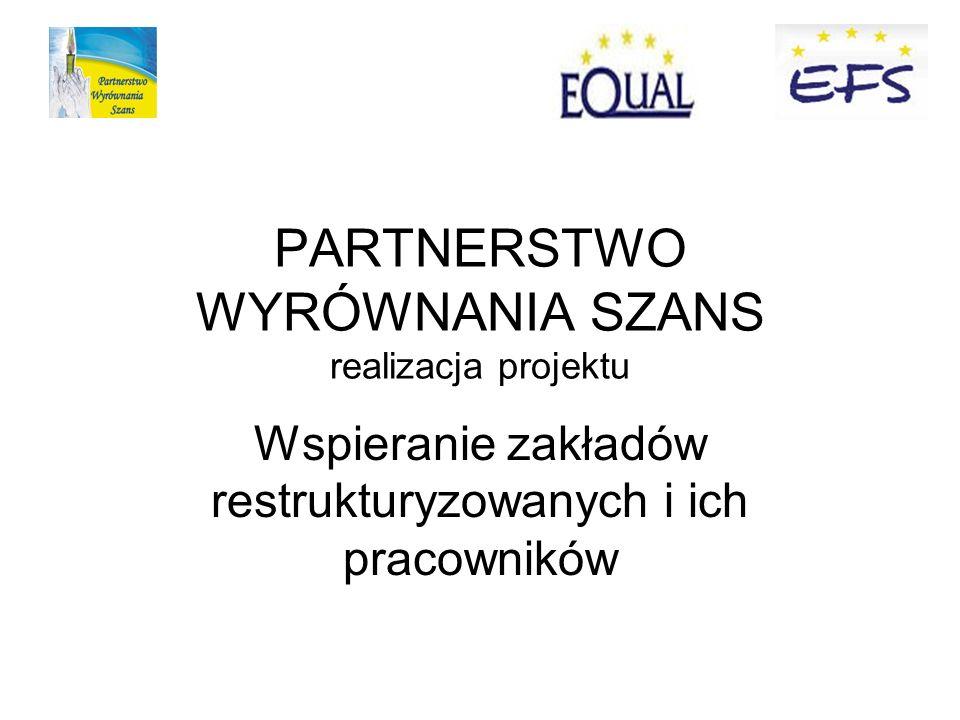 PARTNERSTWO WYRÓWNANIA SZANS realizacja projektu Wspieranie zakładów restrukturyzowanych i ich pracowników