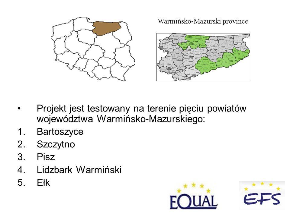 Projekt jest testowany na terenie pięciu powiatów województwa Warmińsko-Mazurskiego: 1.Bartoszyce 2.Szczytno 3.Pisz 4.Lidzbark Warmiński 5.Ełk Warmińsko-Mazurski province