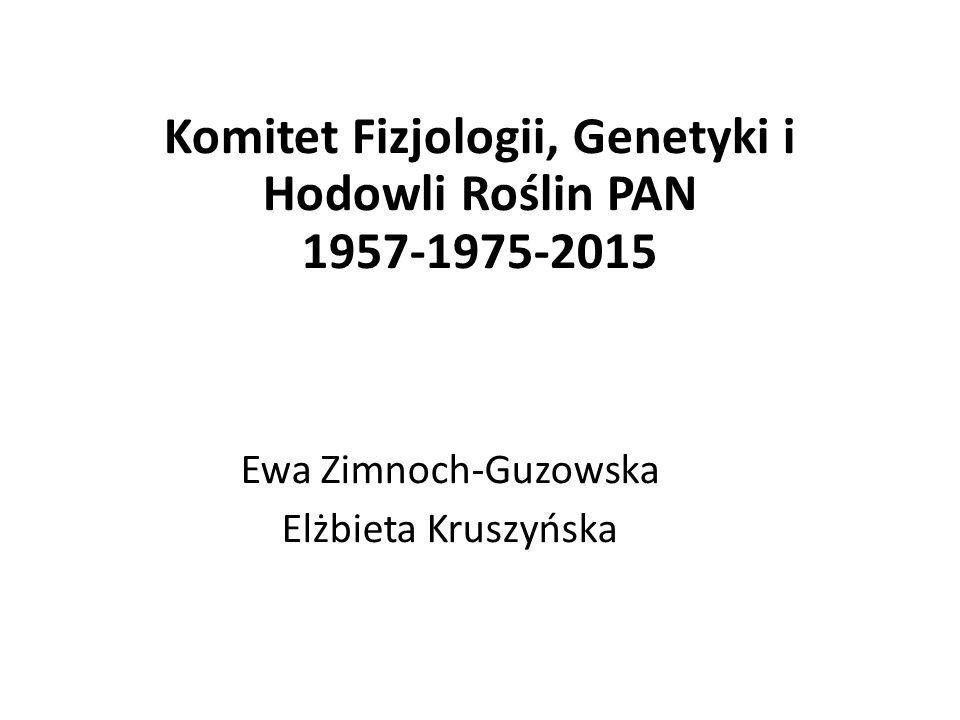 Komitet Fizjologii, Genetyki i Hodowli Roślin PAN 1957-1975-2015 Ewa Zimnoch-Guzowska Elżbieta Kruszyńska