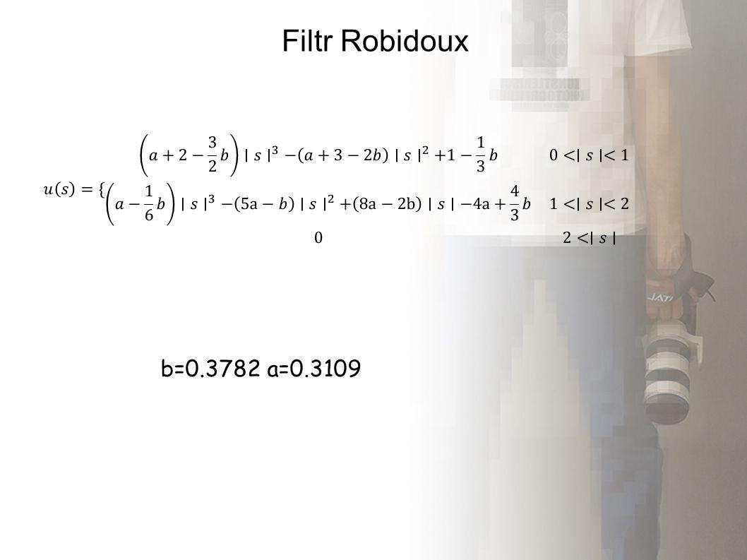 Filtr Robidoux b=0.3782 a=0.3109