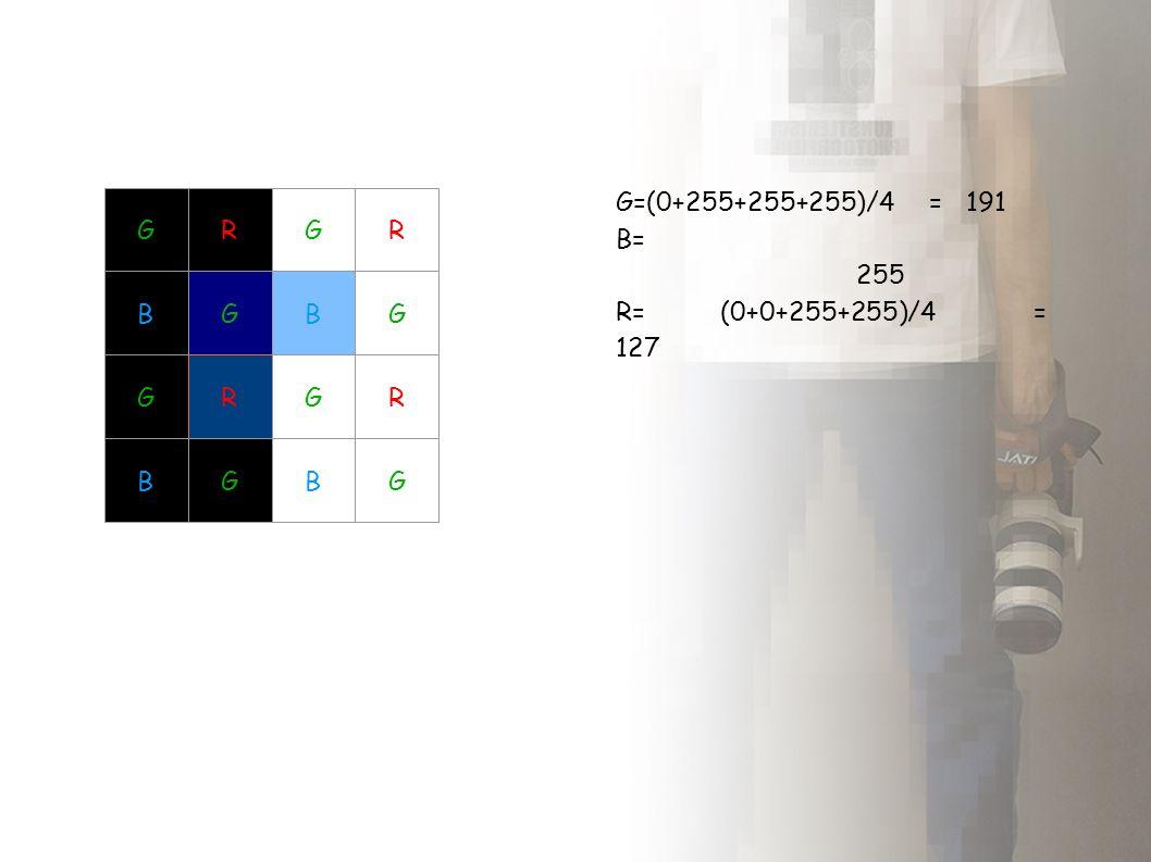 GR BG GR BG GR BG GR BG G=(0+255+255+255)/4 = 191 B= 255 R=(0+0+255+255)/4= 127
