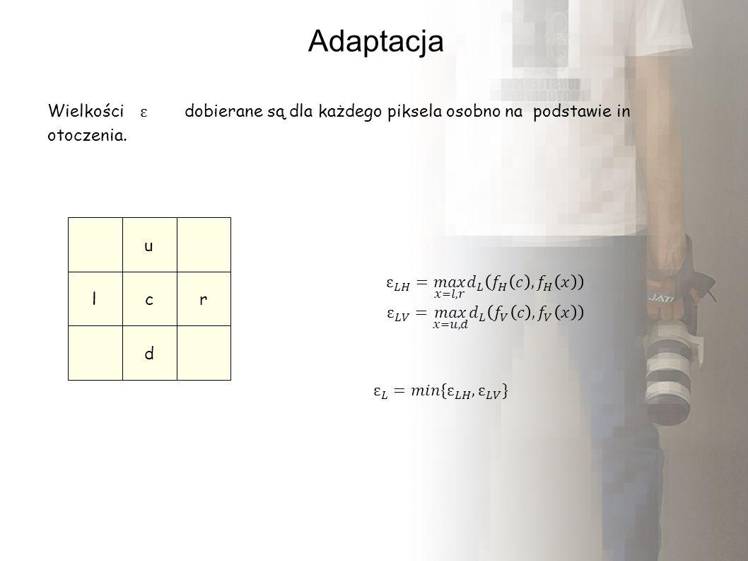 Adaptacja Wielkości dobierane są dla każdego piksela osobno na podstawie in otoczenia. u lc d r