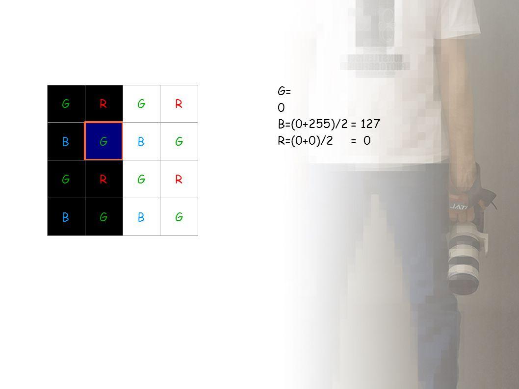 GR BG GR BG GR BG GR BG G= 0 B=(0+255)/2 = 127 R=(0+0)/2 = 0
