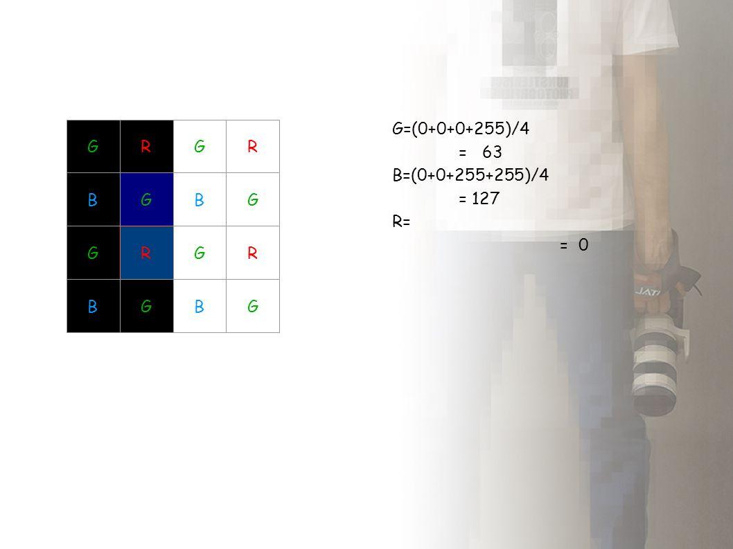 Interpolacja czerwieni i niebieskiego Interpolujemy różniće pomiędzy G i R oraz G i B