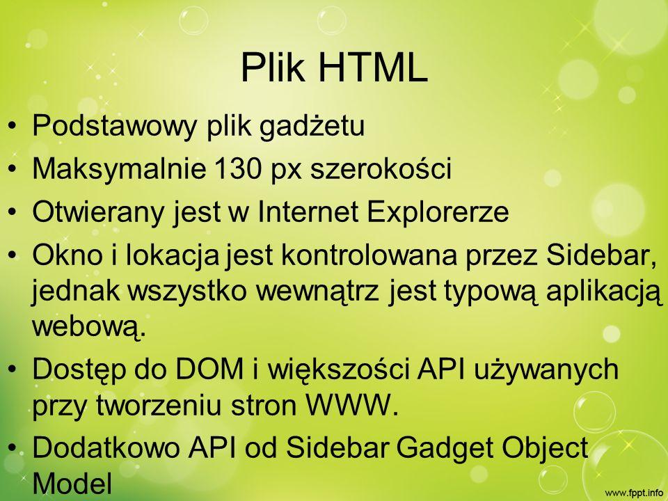 Plik HTML Kod HTML generowany dynamicznie przez JavaScript (gadget.js) Zewnętrzny kaskadowy arkusz stylów (styl.css) Tworzenie gadżetu przypomina tworzenie strony www z tym, że nie trzeba się martwić o poprawne działanie w różnych przeglądarkach.