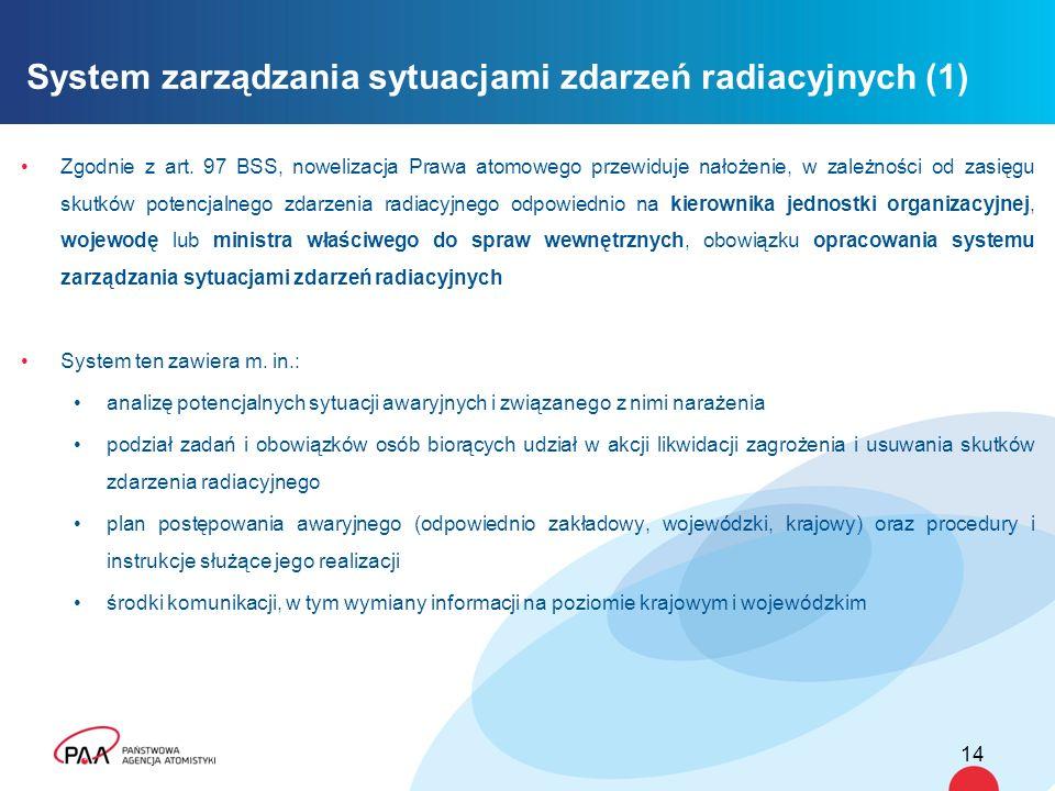 Zgodnie z art. 97 BSS, nowelizacja Prawa atomowego przewiduje nałożenie, w zależności od zasięgu skutków potencjalnego zdarzenia radiacyjnego odpowied