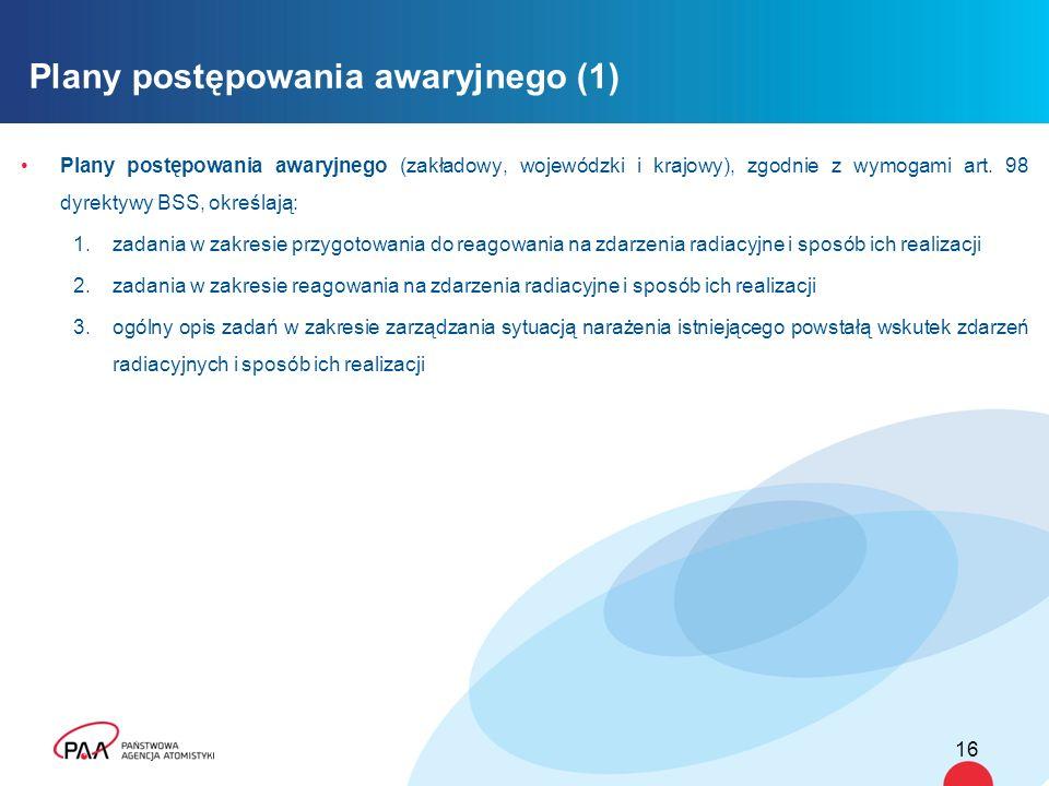 Plany postępowania awaryjnego (zakładowy, wojewódzki i krajowy), zgodnie z wymogami art. 98 dyrektywy BSS, określają: 1.zadania w zakresie przygotowan