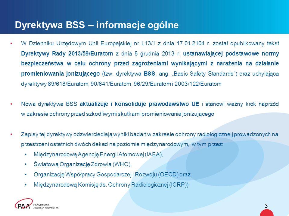 Dyrektywa BSS – informacje ogólne W Dzienniku Urzędowym Unii Europejskiej nr L13/1 z dnia 17.01.2104 r. został opublikowany tekst Dyrektywy Rady 2013/