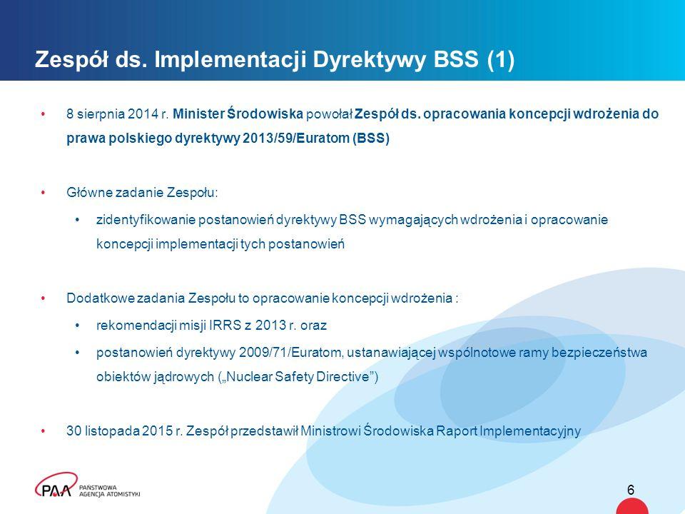 Zespół ds. Implementacji Dyrektywy BSS (1) 8 sierpnia 2014 r. Minister Środowiska powołał Zespół ds. opracowania koncepcji wdrożenia do prawa polskieg