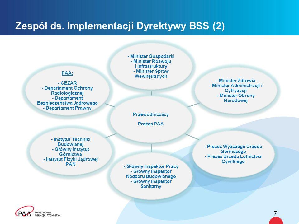 Zespół ds. Implementacji Dyrektywy BSS (2) 7 Przewodniczący Prezes PAA - Minister Gospodarki - Minister Rozwoju i Infrastruktury - Minister Spraw Wewn