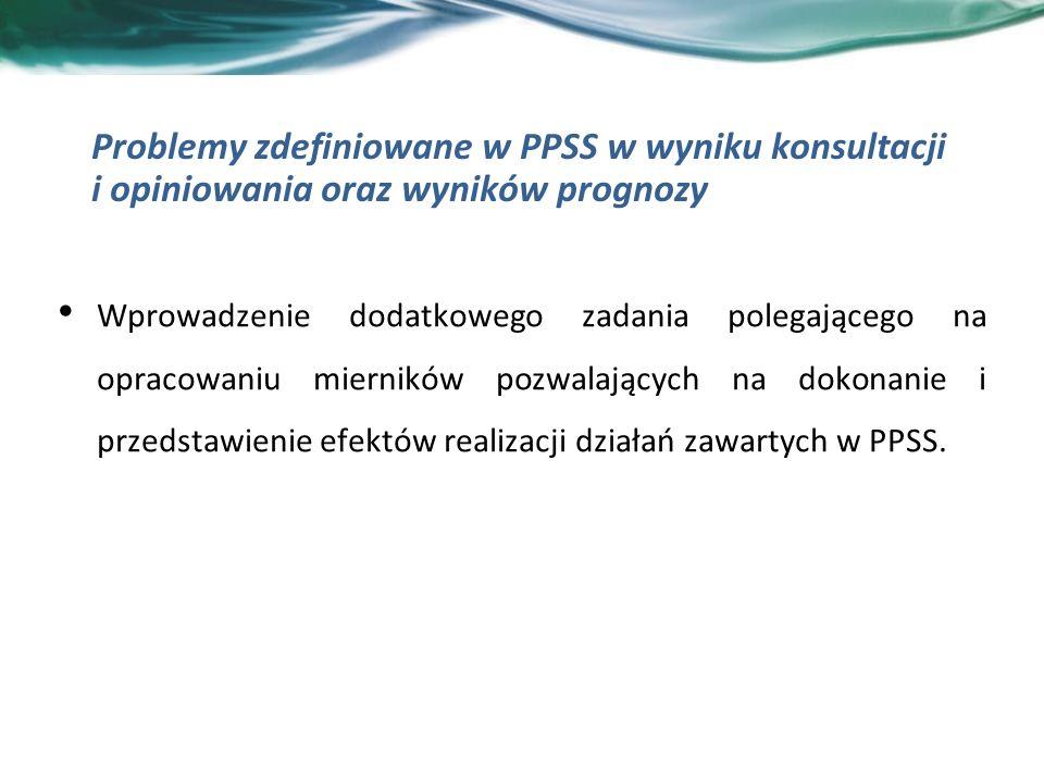 Wprowadzenie dodatkowego zadania polegającego na opracowaniu mierników pozwalających na dokonanie i przedstawienie efektów realizacji działań zawartych w PPSS.